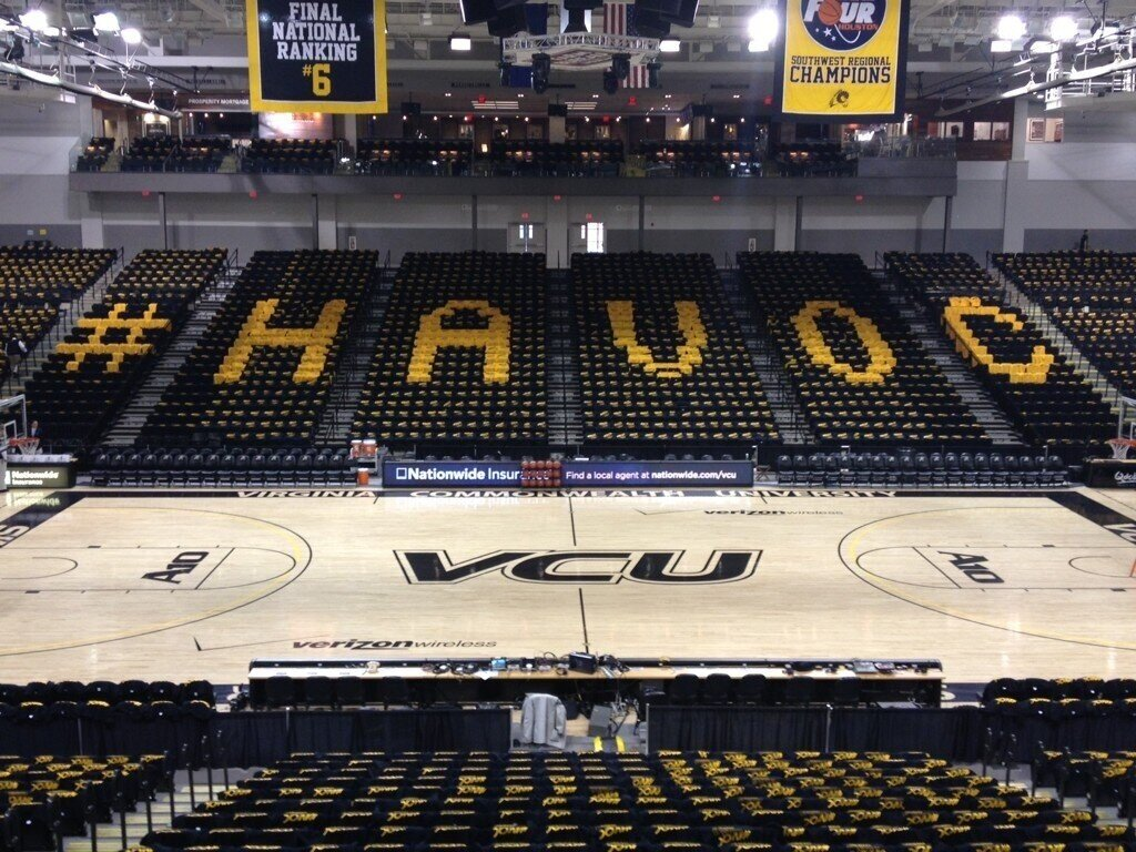 VCU found the perfect canvas to promote their Twitter hashtag on prior to a showdown with Butler.