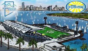A rendering envisioning the stadium restored for an MLS soccer team